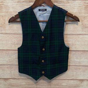 Tommy Hilfiger boys blue and green plaid vest